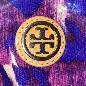 Tory Burch purple/tan  makeup bag